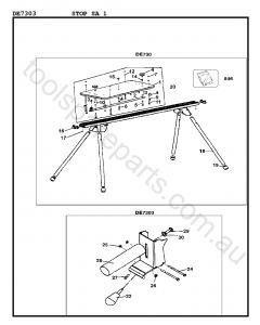 DeWalt DE7303 - Type 1 Spare Parts