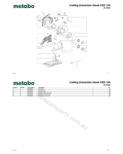 Metabo Cutting Extraction Hood CED 125 26730000 Spare Parts
