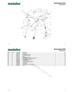 Metabo Workstand KGS 0910003518 10 Spare Parts