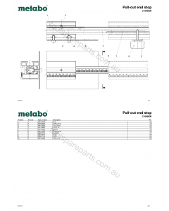 Metabo Pull-out end stop 31696000 Spare Parts