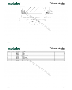Metabo Table side extension 31463000 Spare Parts