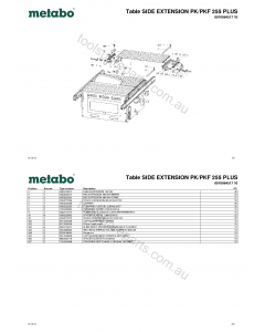 Metabo Table SIDE EXTENSION PK/PKF 255 PLUS 0910064517 10 Spare Parts