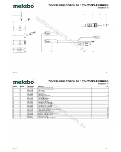 Metabo TIG WELDING TORCH SR 17/F4 WIPPE/FERNREG 0902019618 10 Spare Parts