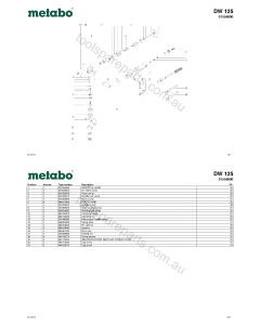 Metabo DW 125 01556000 Spare Parts