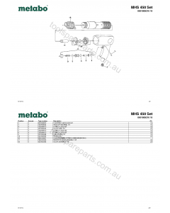 Metabo MHS 450 Set 0901009210 10 Spare Parts
