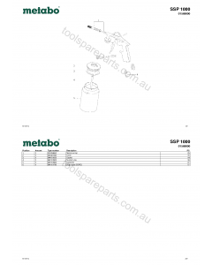 Metabo SSP 1000 01569000 Spare Parts