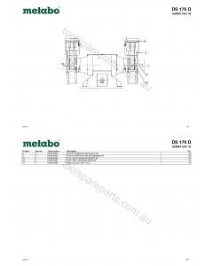 Metabo DS 175 D 0300017541 10 Spare Parts