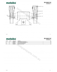 Metabo DS 200/25 W 0300020003 11 Spare Parts