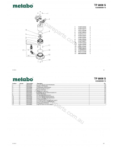 Metabo TP 8000 S 0250800000 10 Spare Parts