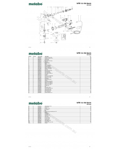 Metabo WPB 12-150 Quick 00432420 Spare Parts