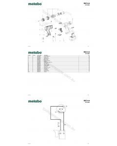 Metabo BSZ 9.6 02152000 Spare Parts