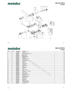 Metabo GA 18 LTX G 00639000 Spare Parts