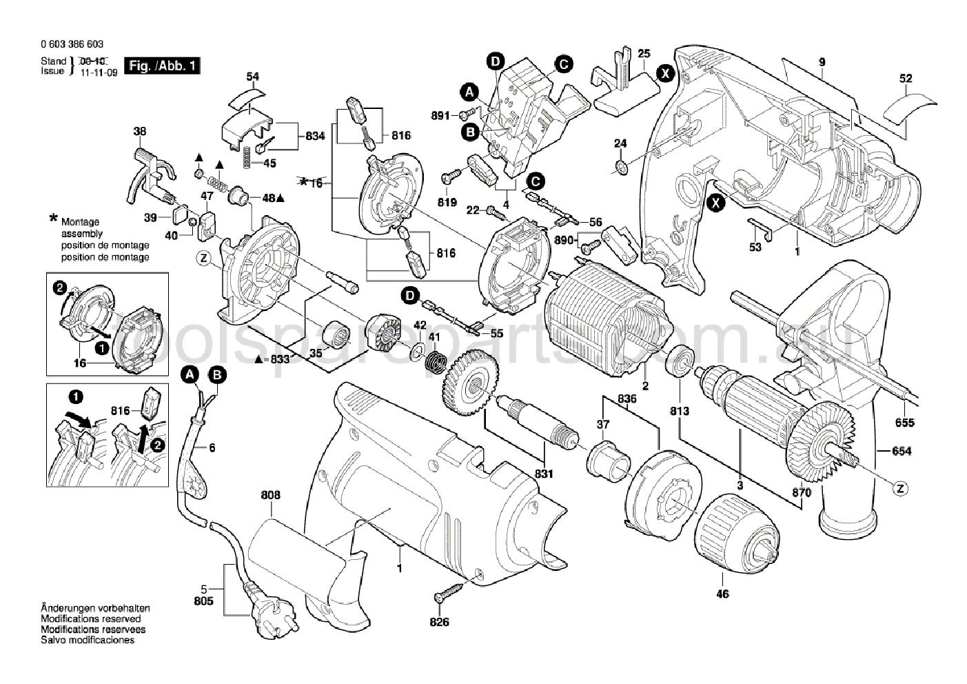 Bosch PSB 650 RE 0603386637  Diagram 1