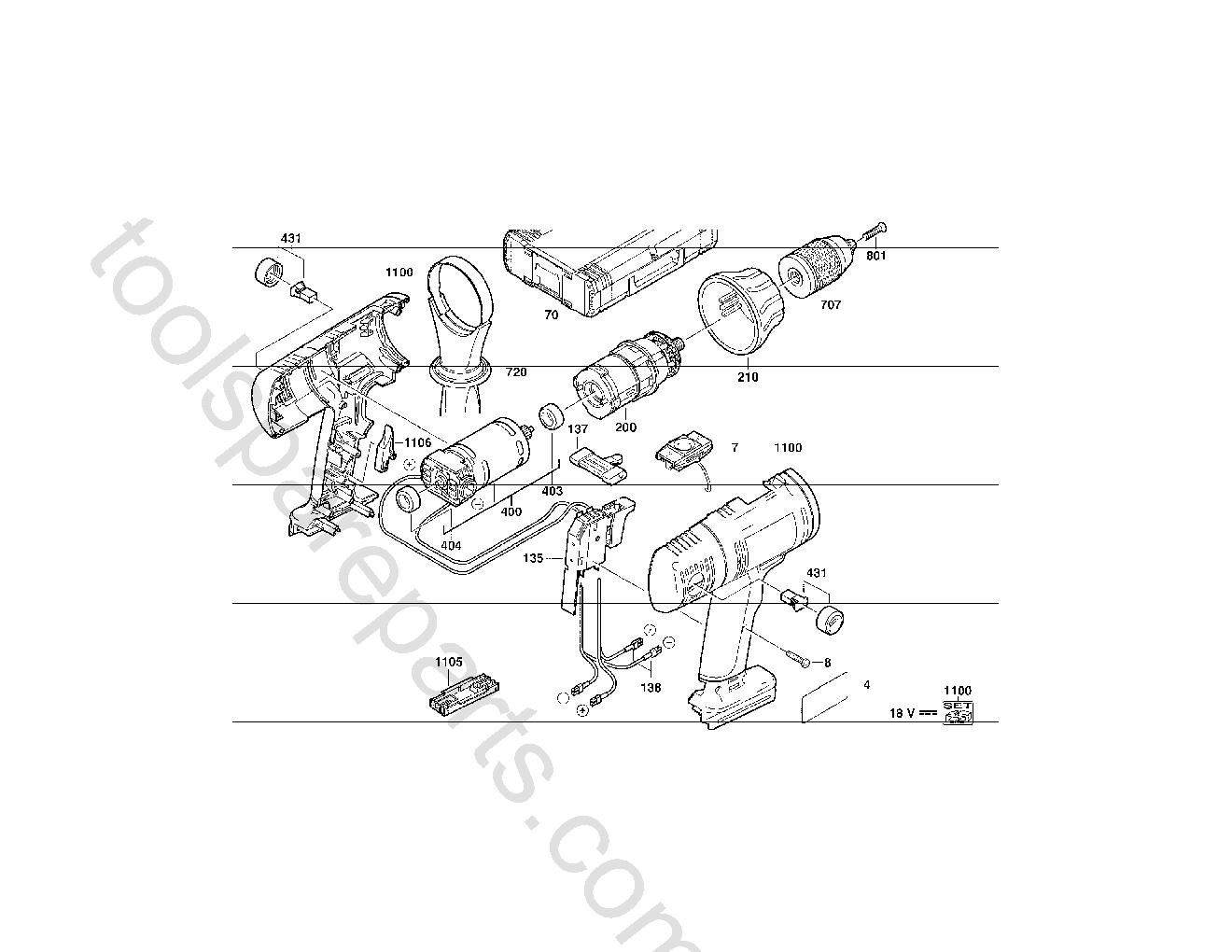 Milwaukee P18TX  Diagram 1